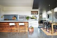 Kitchen / I don't like cooking, but it is still imperative that a house has a big kitchen, industrial feel and pops of colour.