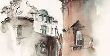 Watercolor paintings and sketches