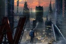 Cyberpunk Environment / Cyberpunk inspiration board with focus on environment and technology.