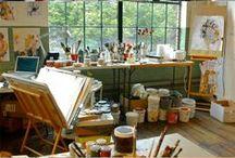 Atelier de peinture / Art studio / Ici des photo d'ateliers de peinture qui m'inspirent / Inspiring art studio