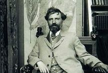 Alfons Mucha / Alfons Maria Mucha (Alphonse Mucha) was a Czech painter and decorative artist. He worked in Moravia, moved to Vienna in 1879, trained at the Munich Academy of Fine Arts then moved to Paris in 1887 where he developed a long-term association with Sarah Bernhardt. He gained international exposure at the 1900 Universal Exhibition in Paris. He was arrested by the Gestapo in 1939 but was released and died soon after. The tennis player Ivan Lendl has one of the largest collections of Mucha's works