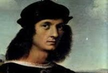 """Raphael - Italian Renaissance / Raffaello Sanzio da Urbino, better known as Raphael, was born in 1483 in the central Italian city of Urbino and was orphaned age 11. After training, he worked for a short time in Florence then moved to Rome. He never married although he was reluctantly engaged to Maria Bibbiena before she died. He is said to have had many affairs but a permanent fixture in his life was """"La Fornarina"""", Margherita Luti. He died in 1520 on his 37th birthday and was buried in the Pantheon."""