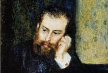 Alfred Sisley - Impressionist / Alfred Sisley was born in Paris in 1839 to affluent British parents. Late in life he was refused French citizenship. In 1866, he formed a relationship with Eugénie Lesouezec. They had two children and finally married in 1897. His father's business failed and he spent the rest of his life in poverty. A trip to London in 1874 resulted in paintings of the Upper Thames that epitomised Impressionism. He always lived close to Paris preferring to paint outdoors. He died in 1899 age 59