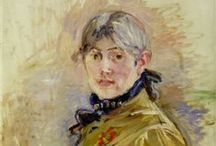 """Berthe Morisot - Impressionist / Berthe Morisot was born in 1841. Her family encouraged her chosen career as a painter. She exhibited in the Salon de Paris.from 1864 to 1874 until she joined the """"rejected"""" Impressionists in their first exhibition. She was strongly supported by Edouard Manet whose brother Eugene she married. Like Mary Cassatt, she focused on portraits using family and personal friends as models. She died in 1895 of pneumonia contracted while attending to her daughter Julie's similar illness."""