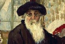 Camille Pissarro - Impressionist / Camille Pissarro was born in 1830 in what was then the Danish West Indies. He went to boarding school in France and moved to live in Paris in 1855. He was the only artist to show at all 8 Impressionist exhibitions. He later mentored the major Post-Impressionists. He married his mother's maid Julie Vellay in 1871 and they had 7 children. In his older age, an eye infection prevented him from working outdoors. He died in 1903.