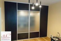 Bedroom Cupboard Sliding Door / We design, manufacture, custom made and install bedroom/office cupboard sliding doors according to your cupboard measurements and your choice. we offer many wood colours, sand-blasted glass, painted glass and more