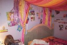 Emily's Room BoHo Style / This room was done by adding silk curtains to the ceiling and walls. Cute!