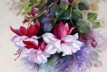 Maling  blomster /  Malerier
