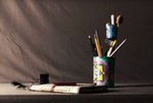 Pen Holders / This is our signature design Pen holder with a nest perched above the main pen holder for your petty consumables like staples, erasers, pins etc. Each pen holder is completely hand painted. #penholder #stationery #handpaint