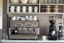 Kitchen Coffee Stations / Create a zoned coffee station in your kitchen. Choose a small nook in your kitchen and store your mugs, teacups and coffee machine!