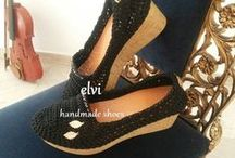 women shoes / Cork Shoes,decorated with beads from crystal and two ''gold'' leaves of laurus nobilis,Platform shoes,hand crocheted and hand stitched to a steady cork sole,by elvi.  *** Free Shipping ***