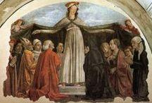 Базилика Онисанти (Chiesa di Ognissanti, Всех Святых), Флоренция. / Церковь была основана в 1251 году. Для главного алтаря Джотто написал «Маэсту», ныне в галерее Уффици. В ризнице храма - фреска «Распятие» Таддео Гадди и «Крест» Джотто. В XV веке в храме появились фрески Боттичелли (похоронен в церкви) и Гирландайо. В 1480 году они написали две фрески в апсиде, справа Боттичелли «Святой Августин в кабинете», слева Гирландайо «Святой Иероним», «Пьета» и «Богоматерь Милосердная» в капелле Веспуччи, и «Тайная вечеря».