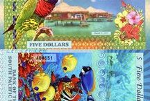 Banknotes from the South Pacific / Fun notes (paper money that is not real currency) featuring birds and marine life from the South Pacific