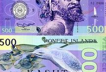 Poneet Islands Banknotes / A beautiful collection of artful banknotes from the fictional land of the Poneet Islands from Mujand