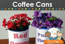 COFFEE CANS / Coffee can recycling, repurposing, and upcycling ideas. Creative ways to recycle, repurpose, and upcycle coffee cans for your classroom or home! Visit me at www.pre-kpages.com for more inspiration for early education! / by Vanessa @pre-kpages.com