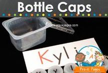 BOTTLE CAP IDEAS / Ideas for using bottle caps for kids art, crafts and learning activities. Educational uses for bottle caps in the preschool, pre-k, or kindergarten classroom. Visit me at www.pre-kpages.com for more inspiration for early education! / by Vanessa @pre-kpages.com