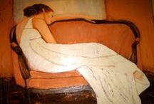 """Prior Artist: Cheryl Burgess / www.CherylBurgessFineArt.com """"Lady on a Sofa"""""""