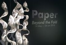 Paper - Beyond the fold / Sat 14 May to Sun 26 Jun 2016 :  This exhibition presents a wide selection of artists, makers and designers who work with paper in a variety of different ways, such a paper pulp, cut paper hangings and paper with embedded electronics.  Debbie Wijskamp, Rebecca Wilson, Sue Shields, Marcelo Coelho studio, Mayumi Kaneko, Jennie Perry, Hannah Lobley, Rachel Lovatt.