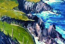 IRISH SCENES / Ireland, irish views, scenes, street scenes, seascapes, landscapes, Dalkey, village, Dingle, Dublin, Sandycove, Seapoint, Killiney, Vico Road, Dun Laoghaire, oil on canvas, charcoal on canvas, art by Gerard Byrne,  interior, decor, decoration, design, ideas, www.gerardbyrneartist.com, impressionistic art, impressionism, contemporary, vibrant, nostalgic, romantic