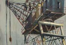 INDUSTRIAL / industrial, construction cranes, art work by Gerard Byrne, The Gerard Byrne Studio, contemporary, art, irish artist, paintings, oil on canvas, charcoal on canvas,  interior, decor, decoration, design, ideas, www.gerardbyrneartist.com