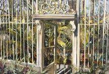 GLASNEVIN BOTANIC GARDENS, DUBLIN / botanic gardens, palm house, flowers, plants, blossom, botanical painter, irish botanic gardens, oil on canvas, charcoal on canvas, art, paintings, contemporary,  interior, decor, decoration, design, ideas, Gerard Byrne, www.gerardbyrneartist.com