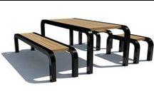 Table-bench sets /  Bord-bænke sæt / Urban Elements presents table-bench sets designed for urban areas.  Her præsenterer Urban Elements bord- og bænke sæt til det urbane rum.
