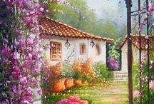 Arte: pintura paisaje / Cristal, pintura...