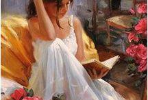 Libros - gente leyendo / personas, dibujos.....