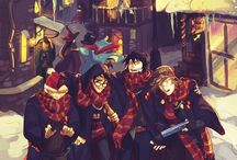 Harry Potter / Draco/Harry and Ron/Hermione