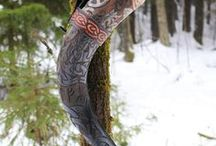 VIKING DRINKING HORNS / Some of the drinking horns we have made and sell. You can find them at www.grimfrost.com