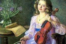 Играющие на скрипке (Playing the violin) / Musical instruments in the painting. Violin. To play the violin. The people playing the violin. The man and the violin. (Not fantasy!!!)  Музыкальные инструменты в живописи. Скрипка. Играть на скрипке.  Люди,  играющие на скрипке. Человек и скрипка. (Не фэнтези!!!)