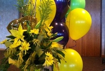 Mardi Gras Floral Centerpieces and Flowers / These are some arrangements we did for a Mardi gras themed party. :-)