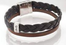 Bracelets pour homme en cuir oliv.b / Bracelet en cuir et métal argenté pour homme oliv.b
