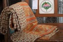 Soft Furnishings / hand embellised and stitched soft furnishings, cushions and Kantha quilts.