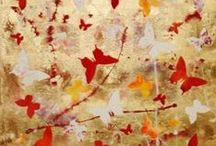 Butterfly collage original art for sale / Butterfly collage - Original abstract paintings.  Gold leaf and/or painted background with individually cut out painted butterflies.  Beautiful butterfly collage art for sale, visit www.artnrshinga.com for more!   All collages are ready to hang- sides are painted, no need for framing. Ideal gift for the loved ones, the butterfly collage painting will brighten your room and will give it extra energy and warmth. Click here to see more of butterfly collage art! www.artnrshinga.com