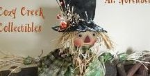 Cozy Creek Primitives Scarecrows / Handmade Primitive Folk Art Scarecrows, Cloth Fabric Autumn Fall Dolls
