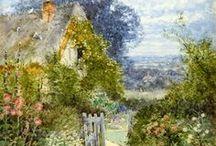 Watercolor: village, garden
