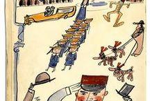 Illust: Ludwig Bemelmans / Cover Art of 'THE NEW YORKER',  'PARISIANER' ... and Cartoon Art