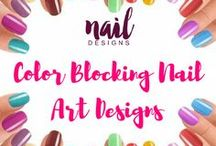 Color Blocking Nail Art Designs / Can't decide on a color or two? Then apply those colors in your nails today. Color blocking would be your answer.