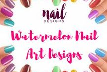 Watermelon Nail Art Designs / Summer is here. Why not try some fruit-inspired nail art designs.