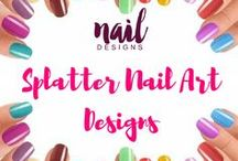 Splatter Nail Art Designs / Add twist to your everyday manicure, add some platter effects now.