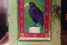Magical Painted Birds ... Cupboard ideas. / An old oak cupboard, bought for £12 in a junk shop.... Initially I was just going to strip it but the 3 panels were too tempting.. Crying out for decoration! I painted 3 different made up birds. The end result reminds me of a magical cupboard you might find in a fairytale gypsy caravan. Suitable for storing spells and magical potions!