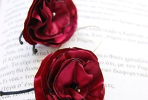 Fabric  Flowers Treasury by Renata Art / Fabric creations  made of satin and cotton by  Renata Art handmade  Earrings , Brooches and more.