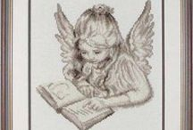 haft krzyżykowy - aniołki / haft krzyżykowy aniołki