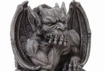 Gargoyles - fantasy rock statues / Gargoyles Gargoyals Gargoles Gargoils - numerous spellings for bat-like dragon-like demon gothic architectural stone statues