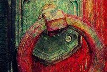 Door handles, door knockers, lockers