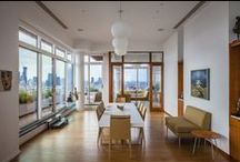 East River Penthouse Apartment / While this 50th floor penthouse had stunning views, it also had dilapidated finishes and a leaky window wall system from the mid 1980's. The apartment was gutted. The space was constructed anew as a serene, well tempered environment, enriched with custom wood cabinetry, paneling, stone and marble all within a cool white envelope that enhances the natural light and opens the interior to the views and terraces.   ~ Designed by Pier, Fine Associates ~ www.pierfine.com