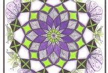 Zentangle Colore's / Colored Zentangle Tiles, Zendala's-combination of Mandala and Zentangle