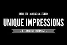 Unique Impressions: The Stunning Side of Sterno / CREATE A UNIQUE, PERSONAL TOUCH. Event-focused and customizable, Unique Impressions offers the flexibility to add seasonality and character to table tops or a personalized touch to special occasions.