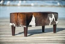 Cowhide Ottomans & Furniture / Cowhide ottomans and stools made to order by Gorgeous Creatures. Each ottoman is unique. Most of these ottomans can easily be sent overseas. www.gorgeouscreatures.co.nz